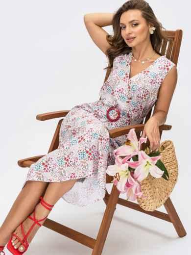 Расклешенное платье без рукавов с принтом и фиксированным запахом белое 54277, фото 1