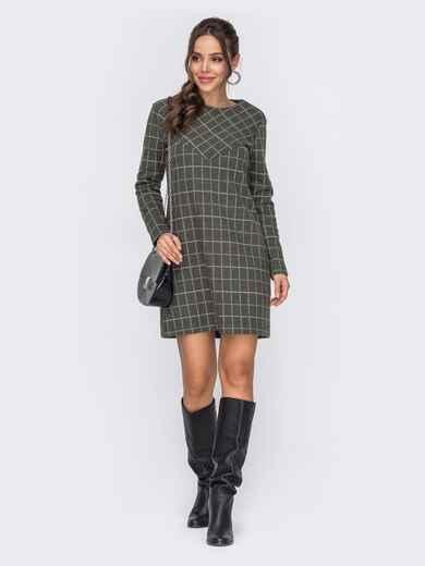 Зеленое платье прямого кроя из жаккарда в клетку 50830, фото 1