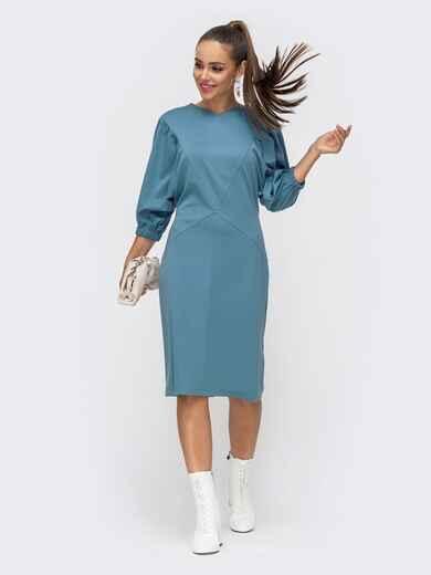 """Голубое платье-миди с рукавом """"летучая мышь"""" 50658, фото 1"""