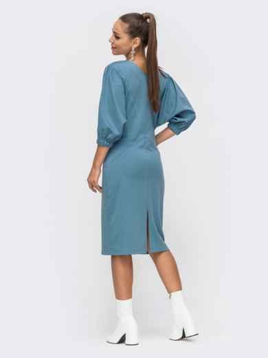 """Голубое платье-миди с рукавом """"летучая мышь"""" 50658, фото 3"""