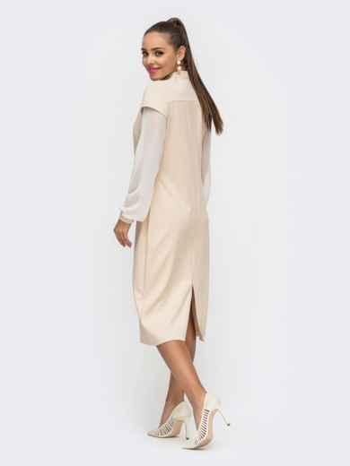 Приталенное платье из замши с шифоновыми рукавами бежевое 50656, фото 3