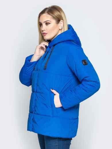 Синяя куртка со вшитым капюшоном и кулиской 20217, фото 2