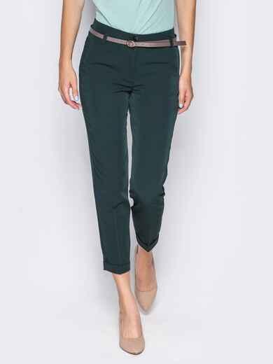 Укороченные брюки со шлёвками для пояса зелёные 14405, фото 3