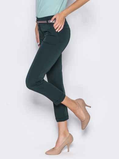 Укороченные брюки со шлёвками для пояса зелёные 14405, фото 4