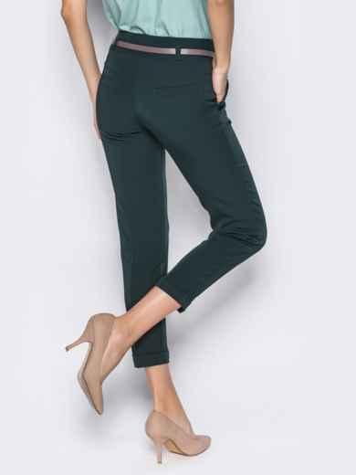 Укороченные брюки со шлёвками для пояса зелёные 14405, фото 5