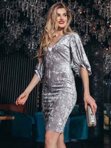 Велюровое платье с объемными рукавами серое 42679, фото 3