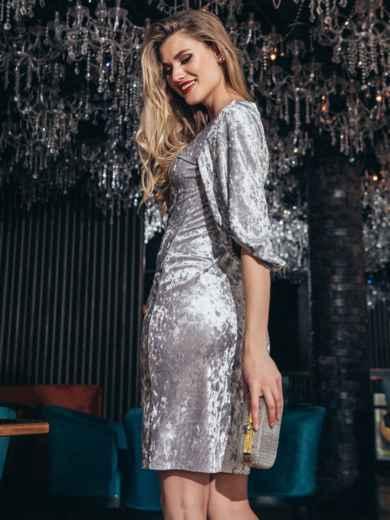 Велюровое платье с объемными рукавами серое 42679, фото 4