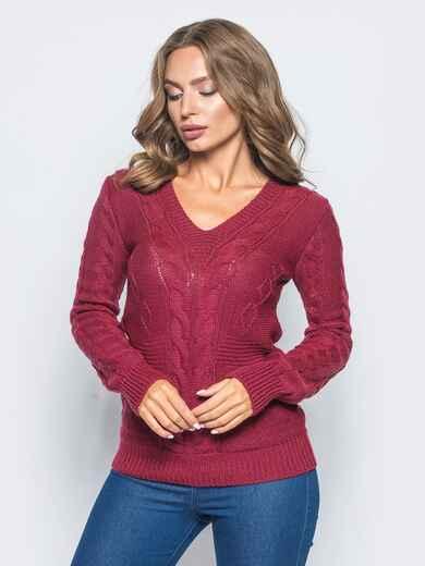 Полуприталенный свитер бордового цвета с v-образным вырезом горловины 16039, фото 1