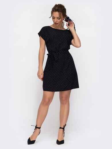Черное платье-мини с принтом в горох 46918, фото 1
