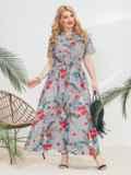 Платье-рубашка большого размера в узкую полосу голубое 46342, фото 1