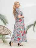 Платье-рубашка большого размера в узкую полосу голубое 46342, фото 3