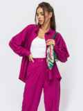 Розовый костюм из брюк и рубашки на пуговицах 53973, фото 4