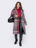 Свободное пальто в клетку красного цвета 51035, фото 2