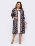 Вечернее платье с гипюровой накидкой тёмно-синее 51487, фото 1