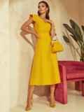 """Желтое платье с вырезом по спинке и рукавом """"крылышко"""" 48198, фото 3"""