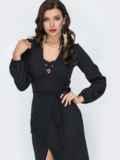 Приталенное платье с разрезом спереди черное 52046, фото 3