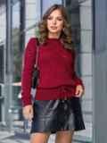 Ажурный свитер с кулиской по низу бордовый 41162, фото 1