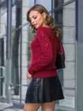 Ажурный свитер с кулиской по низу бордовый 41162, фото 2
