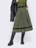 Клетчатая юбка-клеш с высокой талией хаки 52893, фото 2