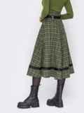 Клетчатая юбка-клеш с высокой талией хаки 52893, фото 3