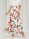 Шифоновая юбка-макси с абстрактным принтом белая 53997, фото 2