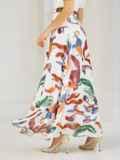 Шифоновая юбка-макси с абстрактным принтом белая 53997, фото 3