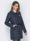 Удлиненная куртка-бомбер с кулиской на талии синяя 20249, фото 2