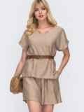 Комплект бежевого цвета из свободной блузки и шорт 49137, фото 1