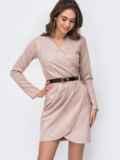 Платье цвета пудры из замшевой ткани 52675, фото 2