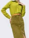 Вельветовая юбка с высоким разрезом спереди зелёная 44901, фото 3
