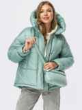 Зимняя куртка мятного цвета с вертикальными карманами 55089, фото 1