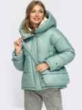 Зимняя куртка мятного цвета с вертикальными карманами 55089, фото 2