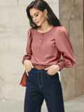 Пудровая блузка с длинными объемными рукавами 55190, фото 1
