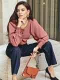 Пудровая блузка с длинными объемными рукавами 55190, фото 2