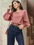 Пудровая блузка с длинными объемными рукавами 55190, фото 3