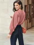 Пудровая блузка с длинными объемными рукавами 55190, фото 4