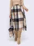 Бежевая расклешенная юбка с бахрамой по низу 51039, фото 2