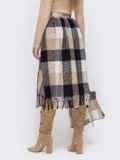Бежевая расклешенная юбка с бахрамой по низу 51039, фото 3