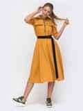 Платье желтого цвета с расклешенной юбкой 49391, фото 1
