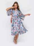 Расклешенное платье из шифона с цветочным принтом голубое 54028, фото 1