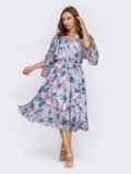 Расклешенное платье из шифона с цветочным принтом голубое 54028, фото 2