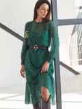 Шифоновое платье-миди с анималистическим принтом зеленое 54968, фото 2