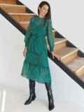 Шифоновое платье-миди с анималистическим принтом зеленое 54968, фото 4