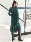 Шифоновое платье-миди с анималистическим принтом зеленое 54968, фото 5