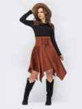 Коричневое платье с асимметричной юбкой 44193, фото 1