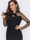Черное платье с воланом по подолу 50826, фото 2