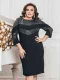 Чёрное платье приталенного кроя со вставками из пайеток 43354, фото 1