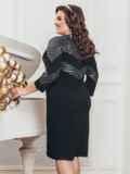 Чёрное платье приталенного кроя со вставками из пайеток 43354, фото 2