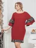 """Бордовое платье большого размера с вырезом """"лодочка"""" 43215, фото 2"""