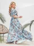 Голубое платье-макси большого размера с принтом 46362, фото 2